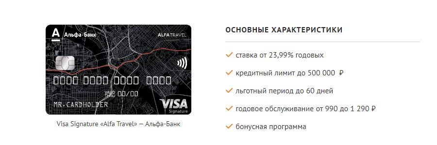 Условия кредитной карты Альфа Тревел