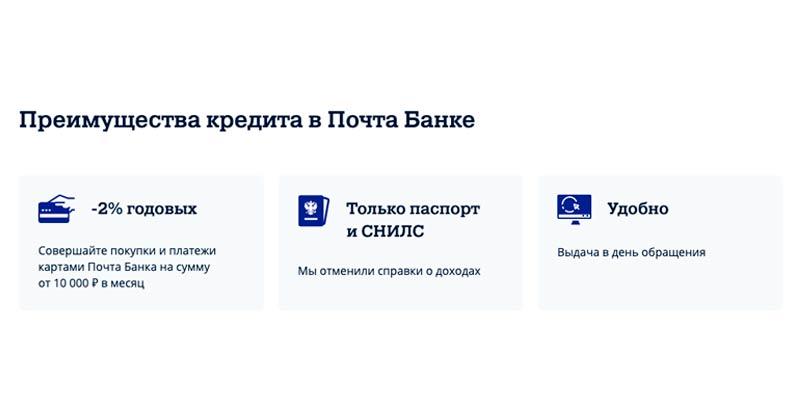 Плюсы кредита в Почта банке